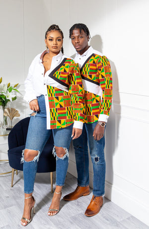African Shirts for Men | Mens African Shirt - Skinny Fit White Button Down Oxford Shirt - KENDRICK