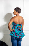 African Print Infinity Mulitway Peplum Casual Top for Women - AVA