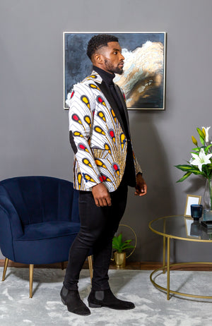 African Print Blazer Jacket for Men - Modern Fit Shawl Lapel Tuxedo - PATRICK