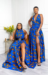 African Maxi Dresses for Women - African Wax Print Sleeveless Turtleneck  Maxi Dress - Ella