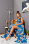 African Dress - African Ankara Wax Print Deep V Neck Maxi Dress With Waist Bands - Gemma