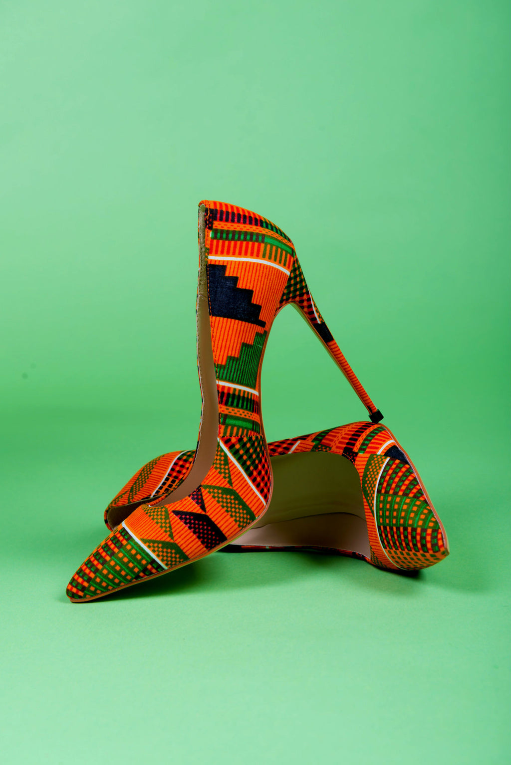 Kente African Print Stiletto Heel Pumps - Danica