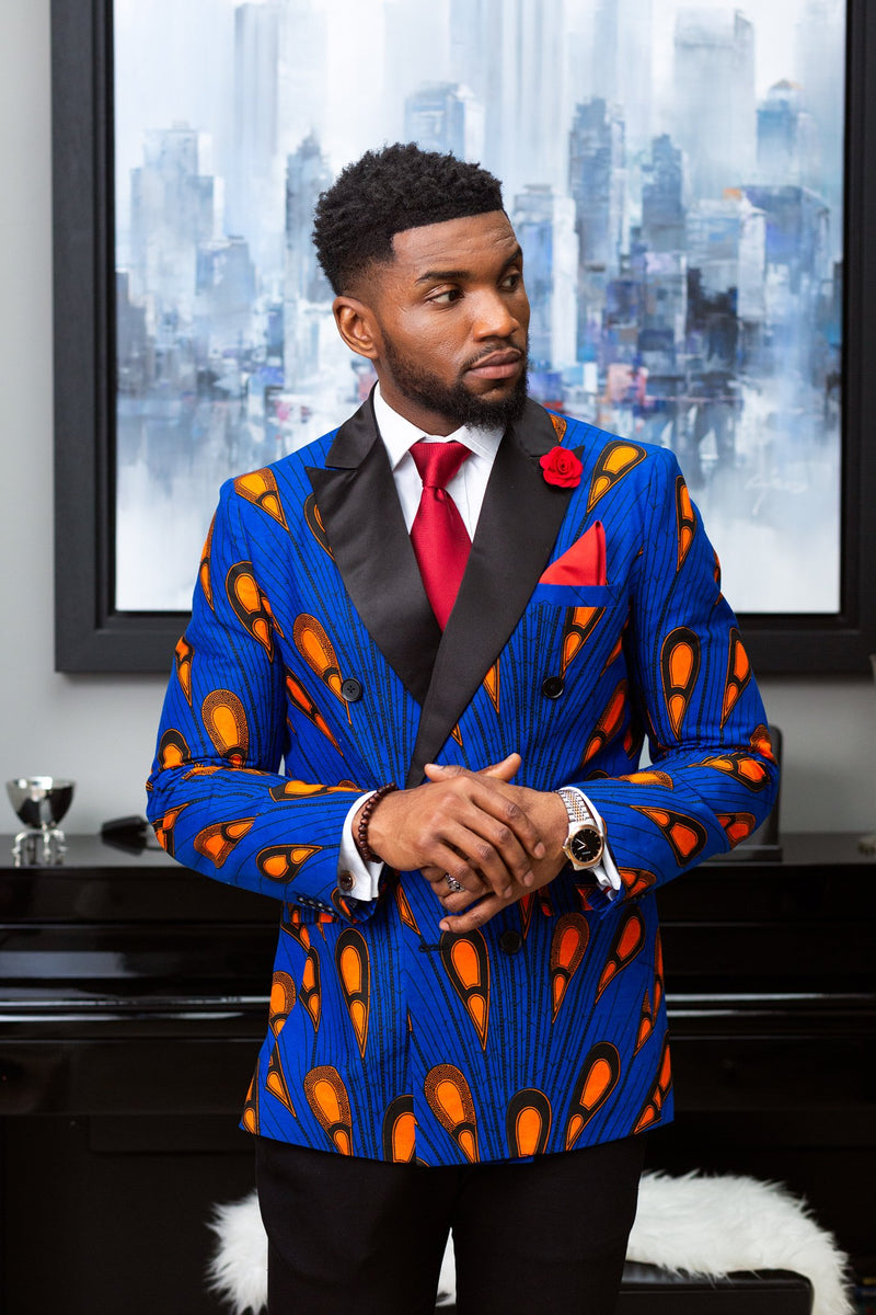 African Print Mens Suit Blazers - Tailored Fit Double Breasted African Blazer Styles - ELIJAH
