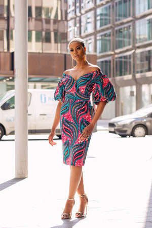 Ankara African Print Bardot Power Shoulder Midi dress - LEIA