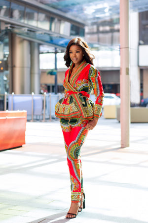 African Print Red Dashiki Women's Wrap Top and Pant Set - Ramona