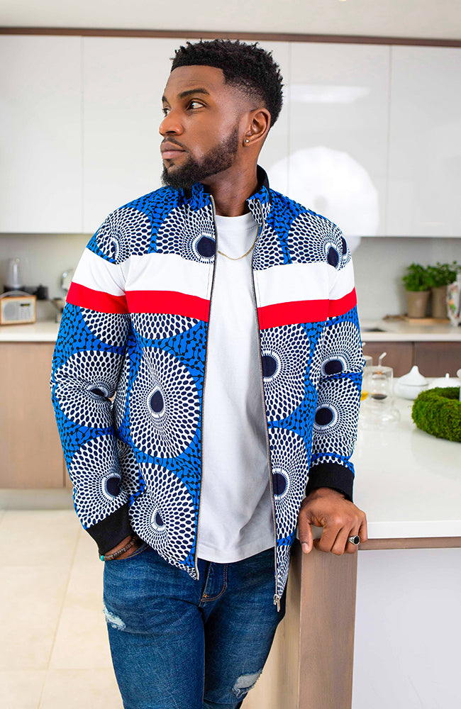 African Jackets for Men, African Print Mens Biker Jacket | Smart Casual Men's African Jackets JUSTIN