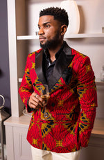 African Blazers for Men - Tailored Fit Double Breasted African Print Formal Blazer - CHARLES