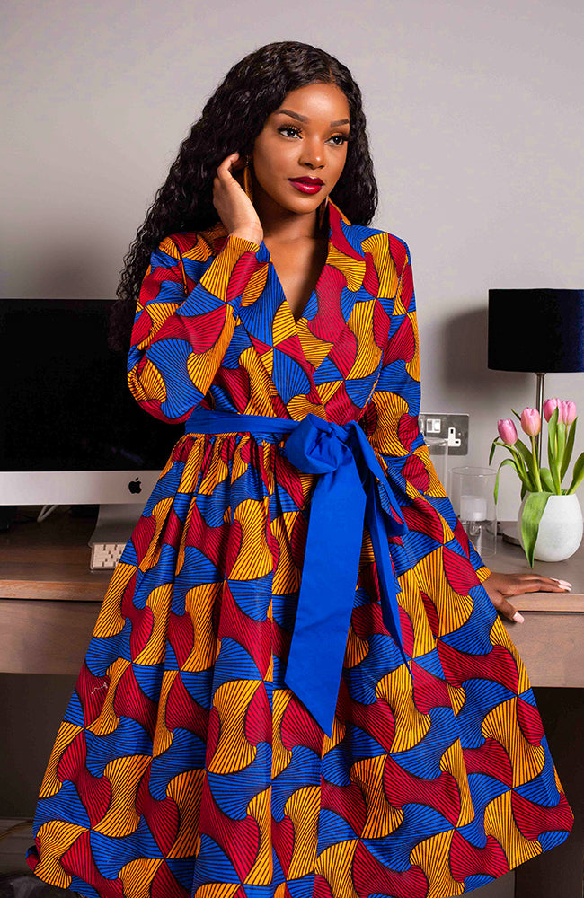 African Print Dresses for Ladies - African Print Wrap Fit & Flare Midi Dress - Lydia