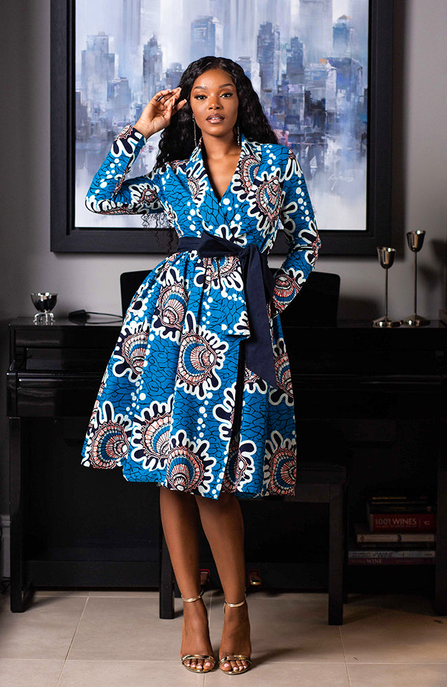 African Print Wrap Fit & Flare Midi Dress L'AVIYE