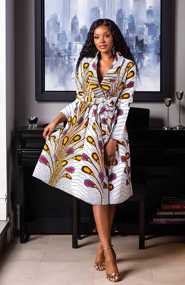 Laviye African Print Midi Dress - African Print V-Neck Wrap Dress Fit and Flare - Pamela