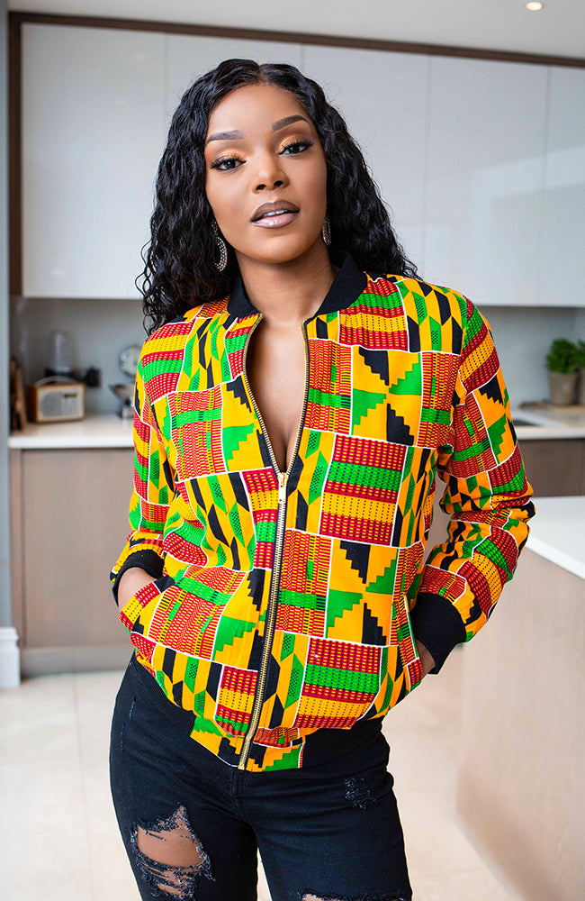 KENYA Kente bomber jacket