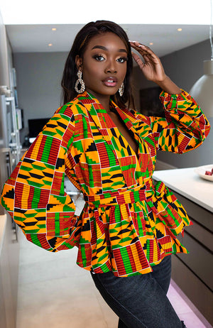 African Print Tops for Women - Shawl Collar Peplum Wrap blouse - Kenya