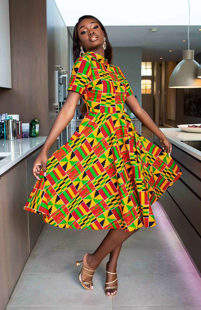 African Midi Dresses for Ladies - Elegant High roll neck Deep V Cut back Ankara Dress - Kenya