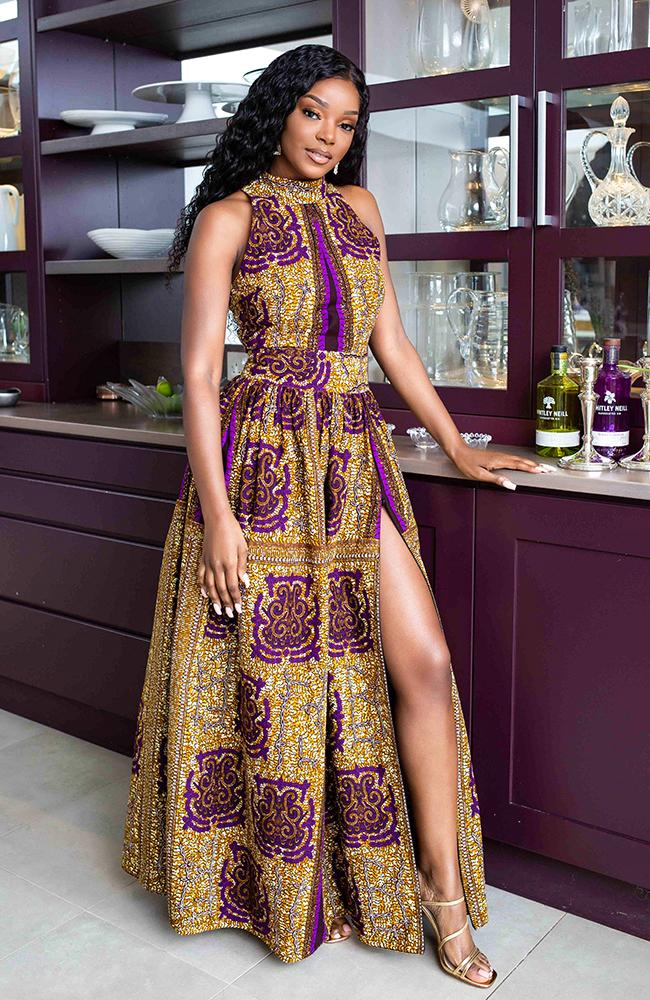 Modern African Print Dresses - African Wax Print Sleeveless Turtleneck Maxi Dress - JESSA