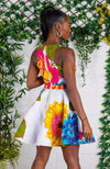 Ankara Crossfront White Floral Mini Dress - THALIA