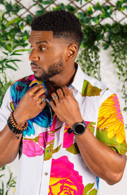 Ankara Fashion Button down Short Sleeve Shirt - THOMAS