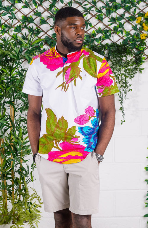 African Print Grandad Collared Shirt for Men - THOMAS