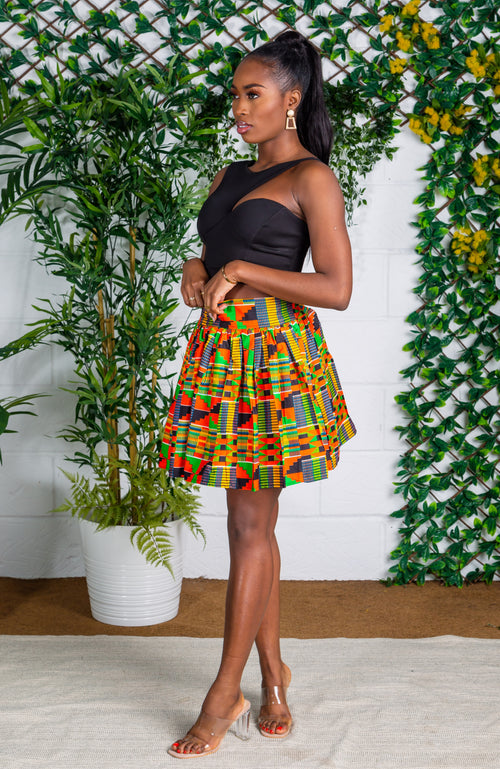 African Print Kente Mini Skirt - MINA