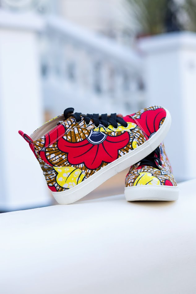 African Print Ankara Red Yellow Floral Sneakers - Elena