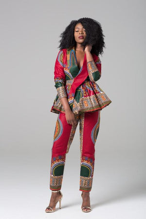 African Print Multicolored High Waist Trousers - Ramona
