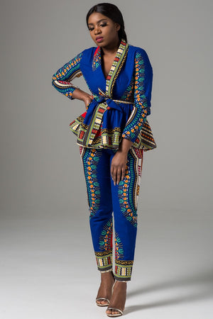 African Print Blue Dashiki Women's Wrap Top and Pant Set - Estrella