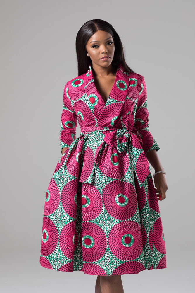 African Print Wrap Fit & Flare Midi Dress - Dahlia