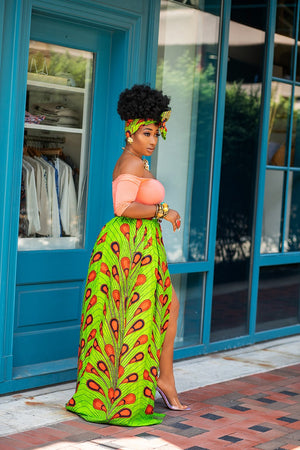African print maxi skirt with long slit & scarf - ARABELLA
