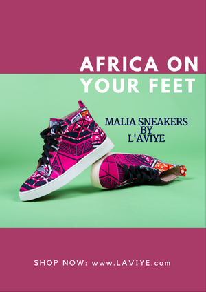 African Print Pink High Top Sneakers - MALIA