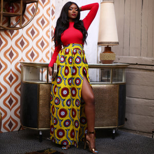 African Print Maxi skirt with Side Split & Pockets - JOANNA