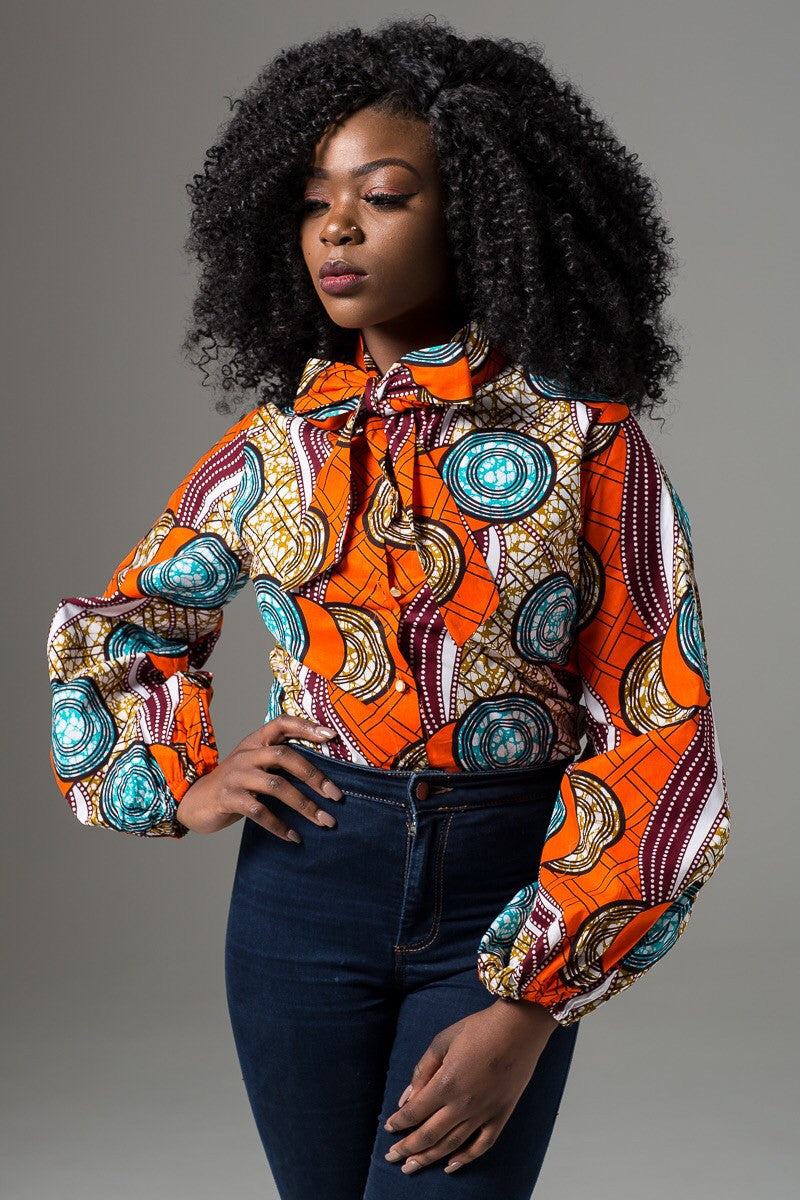 Ankara Buttondown Pussybow Shirt - Brianna