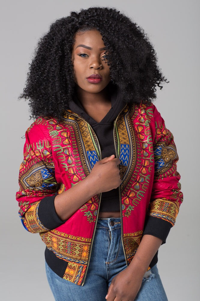 (Pre-Order, Ships in 3-4 Weeks) African Print Red Dashiki bomber jacket - Sophia
