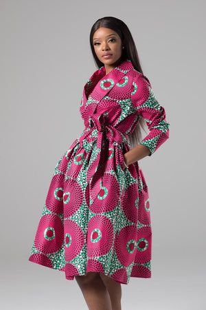 (Pre-Order, Ships in 3-4 Weeks) African Print Wrap Fit & Flare Midi Dress - Dahlia
