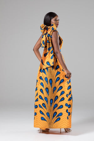 African Print Orange Infinity Multiway Maxi Dress - Nala