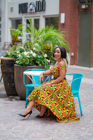 Kente African Print High-low Off-shoulder Dress Embroider Waistband - Kenya