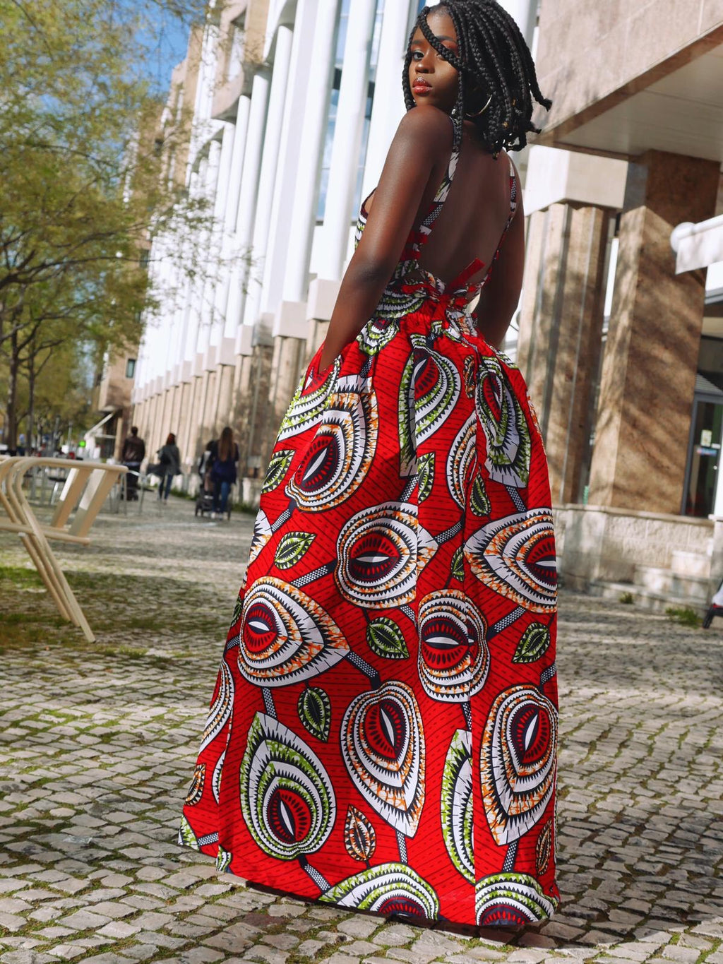 African Wax Print Crossback Sleeveless Maxi Dress - Amira