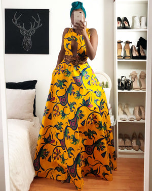African Print Front CutOut Sleeveless Maxi Dress - Gloria