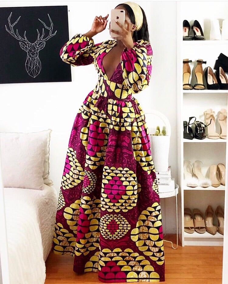 Long African Maxi dress for women - Rosa