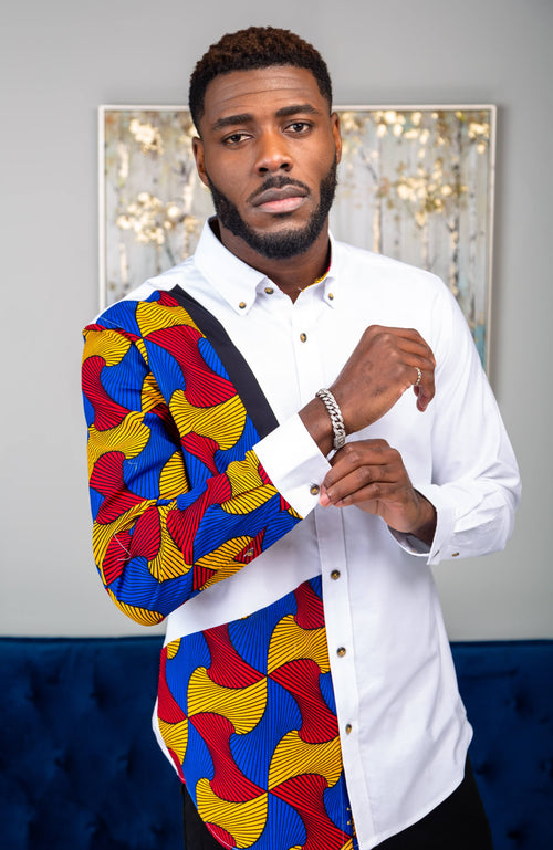 Ankara Shirts for Men | Ankara Mens Shirt Design - Skinny Fit White Button Down Oxford Shirt - LIAM