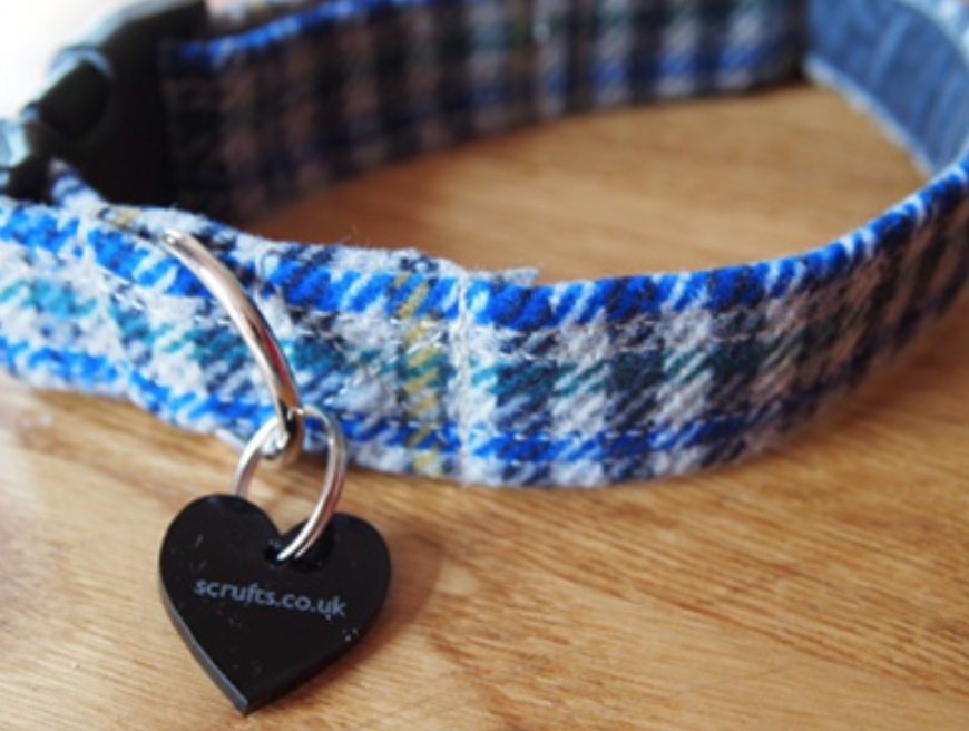 Scrufts' Frankie Tweed Dog Collar with  Lush Velvet Lining