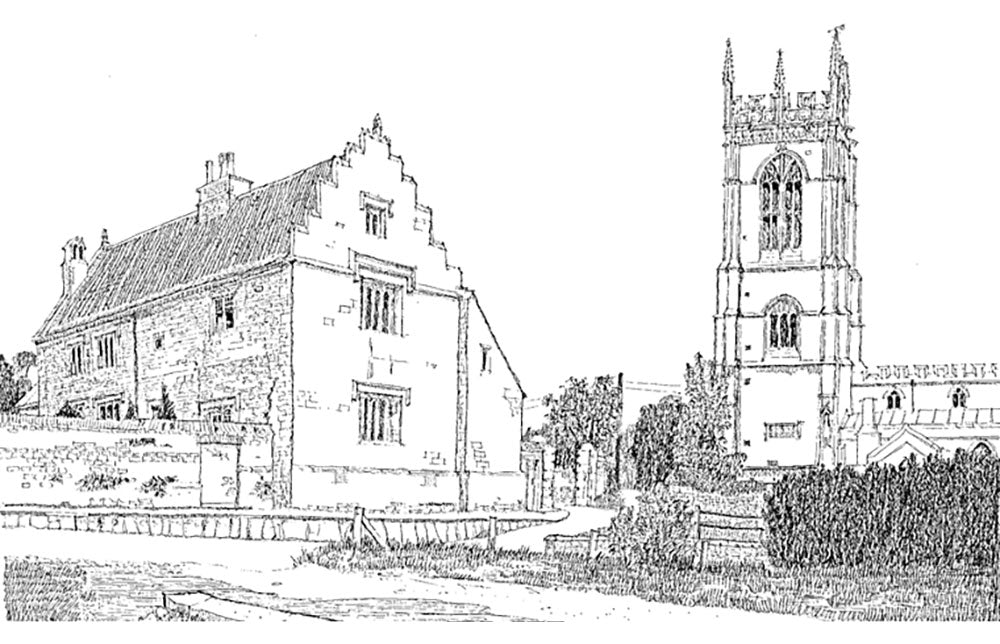 Ellys Manor House and Church Illustration