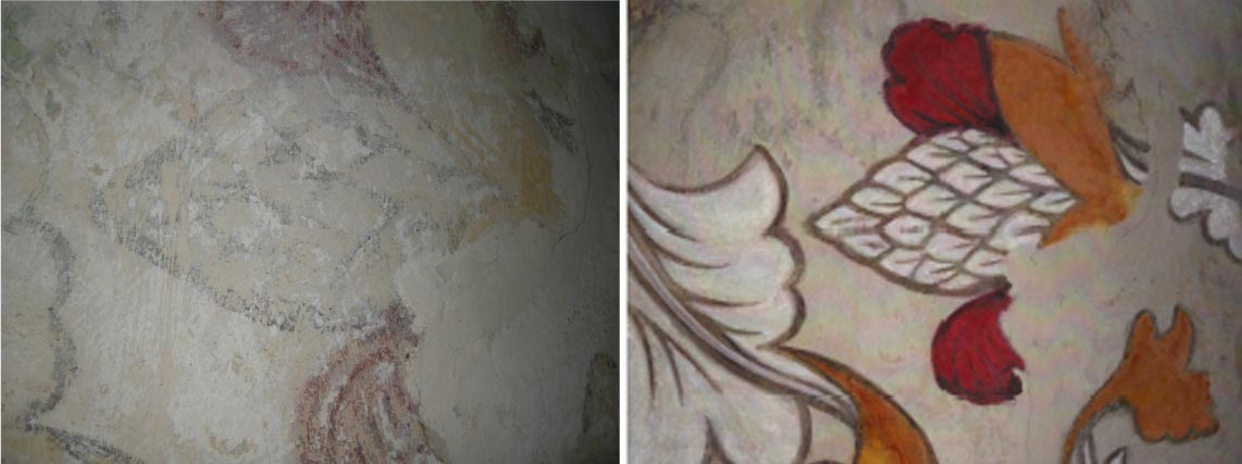 A detailed section of the wall painting showing the artichoke at EMH