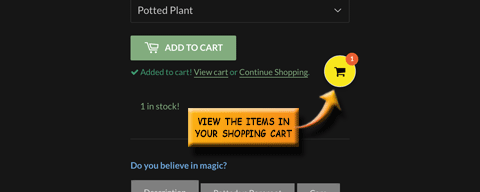 View the items in your shopping cart
