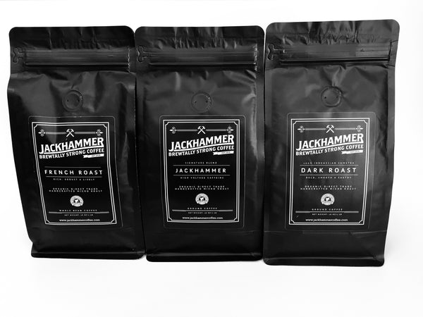 Jackhammer 3 Blend Bundle - Jackhammer Original, French Roast & Dark Roast, Ground 1LB