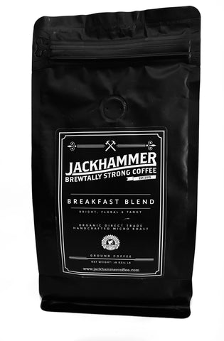 JACKHAMMER Breakfast Blend Organic Coffee, Ground, 1 LB - Free Shipping