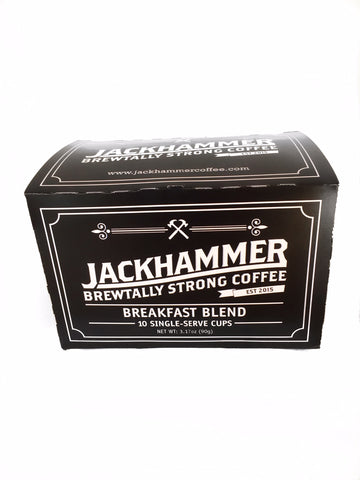 Jackhammer Breakfast Blend, 10 Single-Serve Cups Compatible w/Keurig Brewers