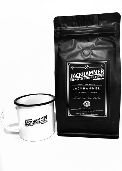 JACKHAMMER  High Voltage Caffeine Organic Coffee & Mug Set, Ground, 1 LB