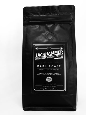 Jackhammer Dark Roast Sumatra Organic Coffee, Whole Bean, 1 LB.  Free Shipping!
