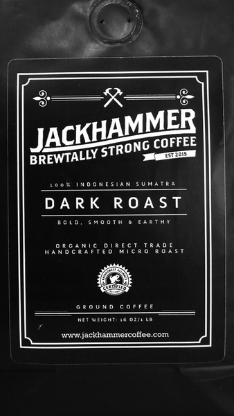 Jackhammer Dark Roast Sumatra Organic Coffee Subscription, Whole Bean, 1 LB.  Free Shipping!