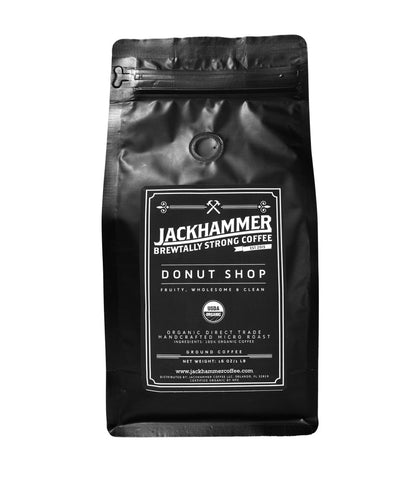 Jackhammer Donut Shop USDA Certified Organic Coffee, Ground, 1LB  Free Shipping!
