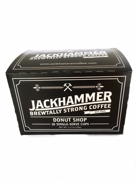 Jackhammer Donut Shop Coffee, 10 Single-Serve Cups Compatible w/Keurig Brewers